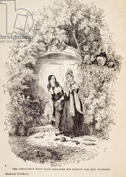 Gentleman by door declares his love for Mrs Nickleby, scene from Nicholas Nickleby by Charles Dickens, by Hablot Knight Browne, 1839