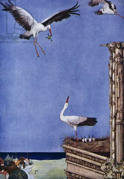 The stork, fairy tale by Hans Christian Andersen (1805-1875), illustration by Harry Clarke (1890-1931)