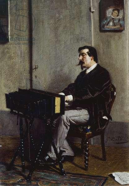 Painter Cristiano Banti at harmonium by Giovanni Boldini (1842-1931), oil on canvas, 28x19 cm, 1865-1866