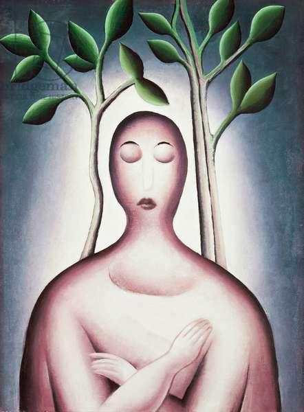 Meditation, 1915, by Jan Zrzavy (1890-1977), oil on canvas, 50x37 cm. Czech Republic, 20th century.