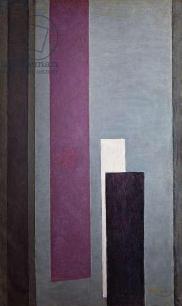 Vertical planes III, 1912-1913, by Frantisek Kupka (1871-1957), oil on canvas, 200x118 cm. Czech Republic, 20th century.