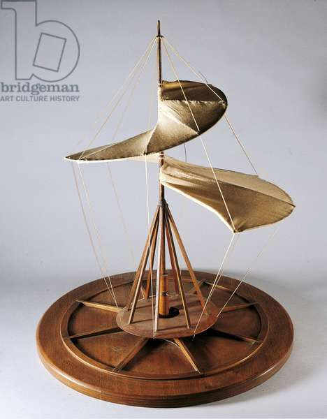 Reconstruction of da Vinci's design for a helicopter or aerial screw (wood, cloth & string)