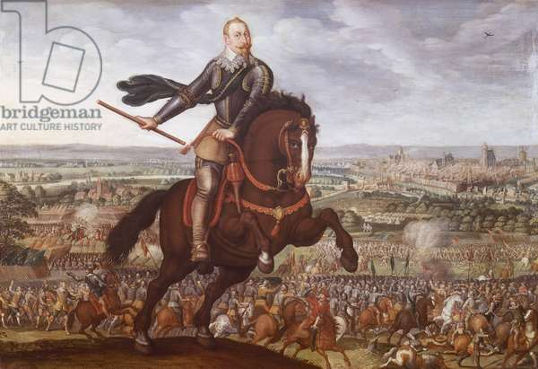 Gustav II Adolf of Sweden at Battle of Breitenfeld in 1631, painting by Jean Jacques Walter, Thirty Years' War, Germany, 17th century