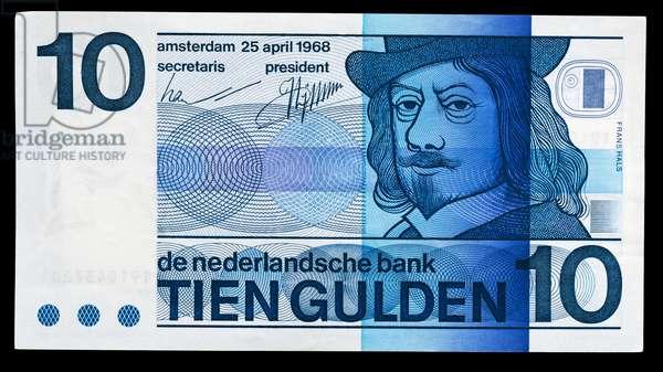 10 guilder banknote, 1968, obverse, Frans Hals (circa 1580-1666), Netherlands, 20th century