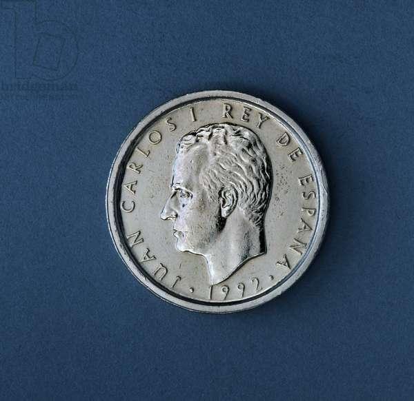 100 pesetas coin, 1992, obverse, Juan Carlos I (1938-), Spain, 20th century