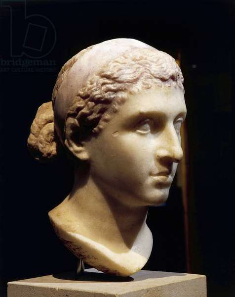 Marble head of Cleopatra VII, Roman civilization, 50-30 b.c.