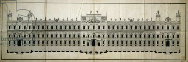 Doge's Palace in Piacenza, perspective view designed by Lotario Tomba, Italy, 18th century