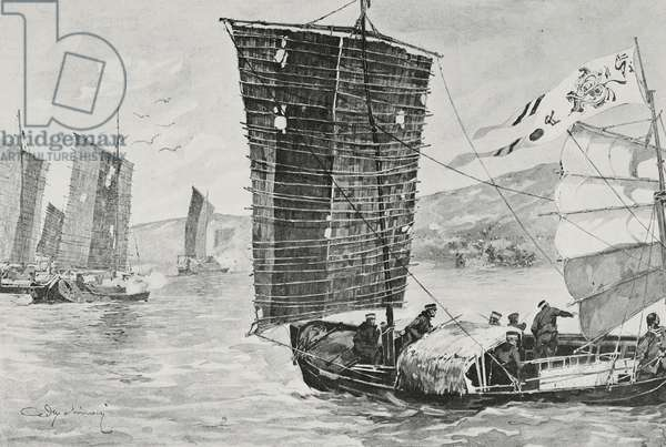 Armed Chinese junks attempting to smuggle contraband in Bay of Pigeons, drawing by Aldo Molinari, from L'Illustrazione Italiana, Year XXXI, No 32, August 7, 1904