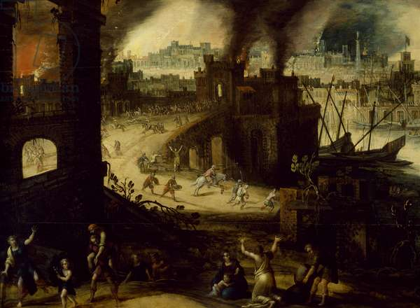 Burning of Troy, 1603, by Pieter Schoubroeck (circa 1570-1607), oil on copper, 28x52 cm