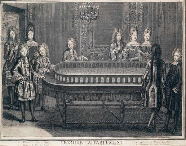 Charles de Berry, Philippe d'Anjou, Prince of Wales and Comte de Brionne playing some kind of croquet in, first apartment of Palace of Versailles, 1694, by Antoine Trouvain (1656-1708), engraving, France, 17th century