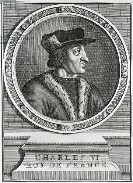 Portrait of Charles VI the Beloved or the Mad (1368-1422), King of France from 1380, Dutch engraving, 1724