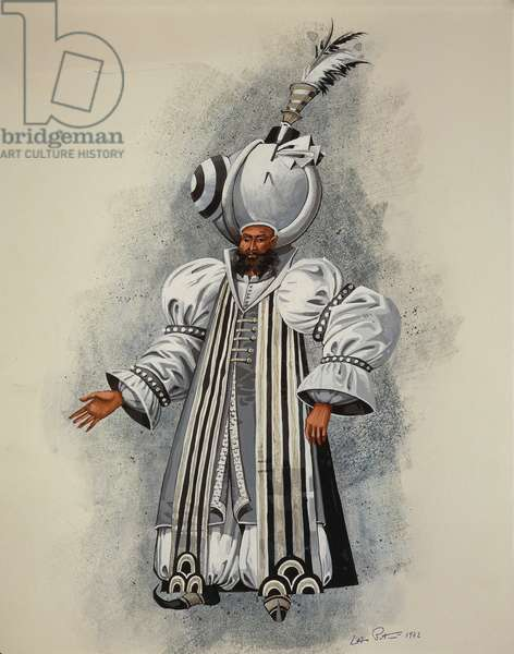 Costume for Selim from The Abduction from the Seraglio by Wolfgang Amadeus Mozart, sketch, 1972, 20th century