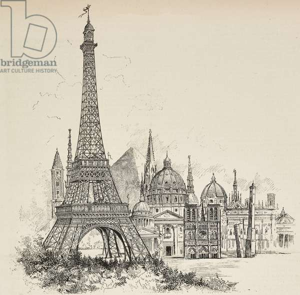 Eiffel Tower compared to some of tallest monuments in world during 18th century, engraving from L'Illustrazione Italiana, year 16, no 18, May 5, 1889