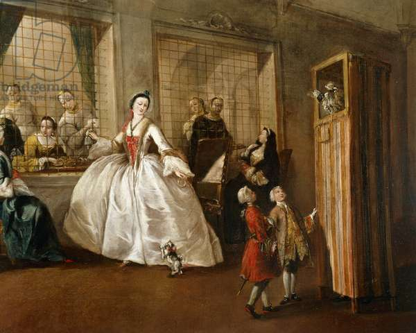The parlor of nuns of San Zaccaria, by Francesco Guardi (1712-1793), oil on canvas, 108x208 cm, detail, 1746