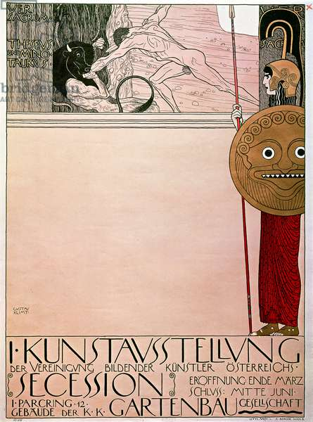Poster for the first exhibition of the Secession (Theseus and Minotaur), 1898, by Gustav Klimt (1862-1918), lithograph, cm 97x70