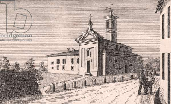 View of Church of Saint Lawrence, Castel del Vescovo, Sasso Marconi, Emilia-Romagna, Italy, lithograph, ca 13x17 cm