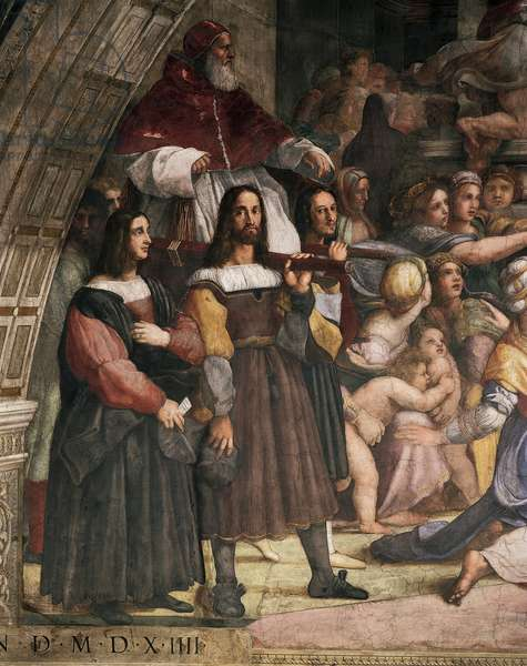 Chair-bearers carrying Pope Julius II, detail of the Expulsion of Heliodorus from the Temple, 1511-1512, by Raphael (1483-1520), fresco, Room of Heliodorus, Apostolic Palace, Vatican City