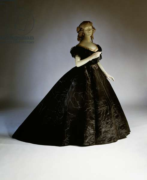 Evening mourning dress, Ca 1861, 19th century
