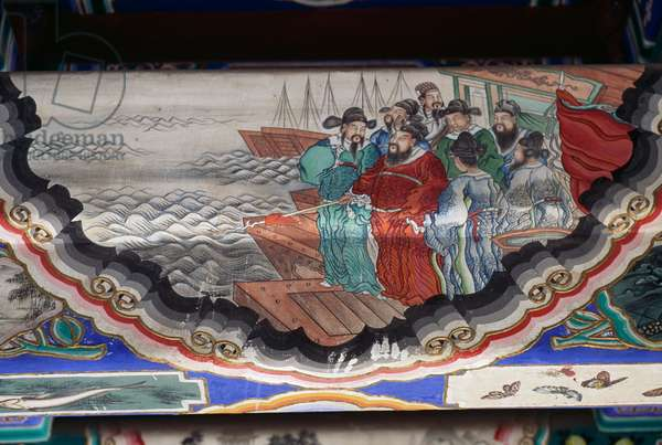 Painting depicting men leaving for sea, Summer Palace (UNESCO World Heritage List, 1998), Longevity Hill, Beijing (Beijing), China, 18th century