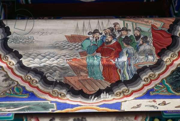 Painting depicting men leaving for sea, Summer Palace (UNESCO World Heritage List, 1998), Longevity Hill, Beijing (Beijing), China, 18th century