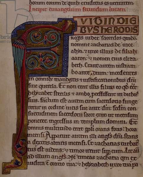 Letter P, miniature from a Medieval Gospels, manuscript, France 13th Century.