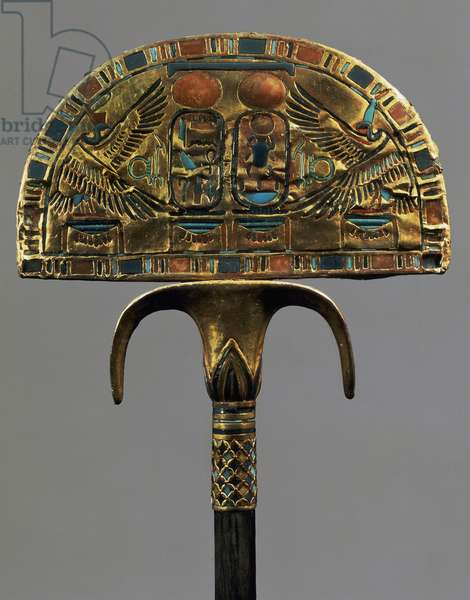 Ceremonial flabellum, wood covered with gold leaf and inlaid with colored glass, part of Treasures of Tutankhamun, Egyptian civilization, New Kingdom, Dynasty XVIII