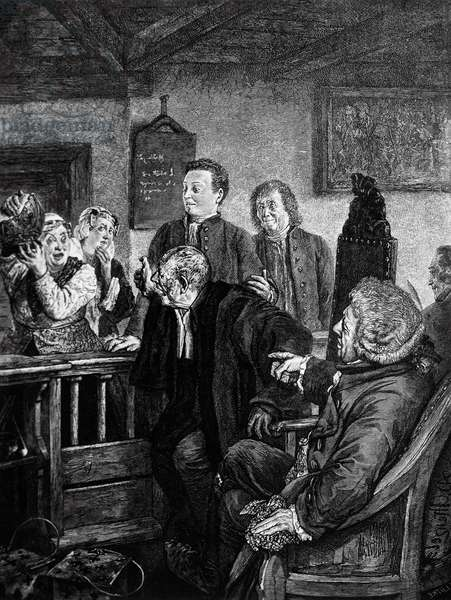 Adam and Frau Marthe during trial, illustration for VII scene of Broken Jug, comedy by Heinrich von Kleist (1777-1811), engraving by Adolph Menzel (1815-1905)
