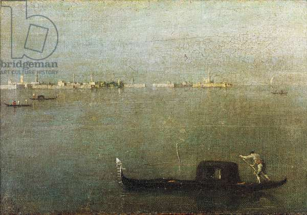 Gondola on Lagoon, Gray Lagoon c. 1765 (oil on canvas)