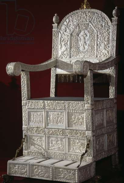 Throne of Russian Tsar Ivan IV (Terrible), Kremlin Museum, Moscow, Russia, 16th century