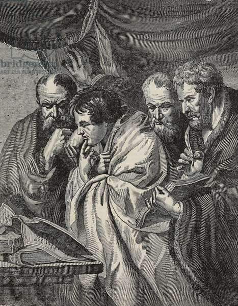 The Four Evangelists, after painting by Jacob Jordaens, illustration from Teatro universale, Raccolta enciclopedica e scenografica, No 62, September 5, 1835