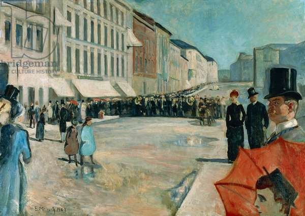 Music on Karl Johan Street, 1889, by Edvard Munch (1863-1944), oil on canvas, 102x141 cm. Norway, 20th century.