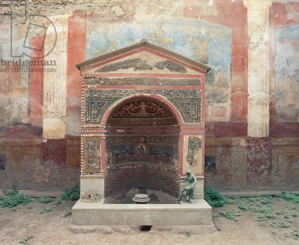 Wellspring decorated with polychrome glass paste mosaics, House of Small Fountain, Pompeii (UNESCO World Heritage Site, 1997), Italy, Roman civilization, 1st century BC