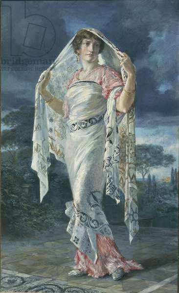 Portrait of Henriette Fortuny in costume of Pompeii pompeiano, 1935 (tempera on panel)