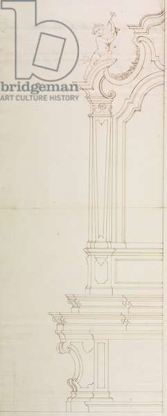 Design for altar dedicated to Blessed Virgin Mary of Sorrow in church of Saint Victor Martyr, Casorate Primo, vicariate of Buccinasco, August 19, 1754, Cardinal Giuseppe Pozzobonelli, elevation drawing, Italy, 18th century