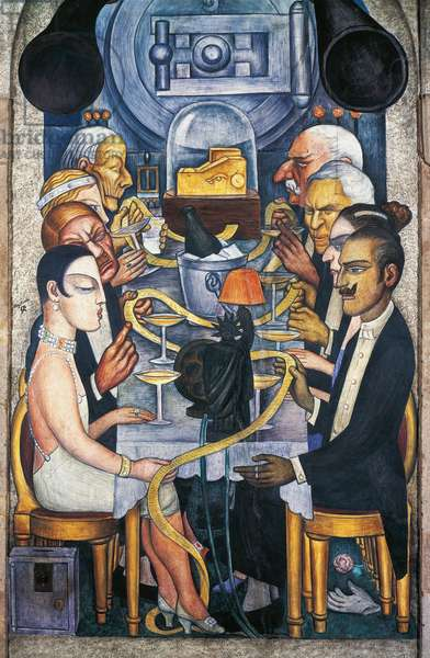 Wall Street banquet, by Diego Rivera (1886-1957), detail from the Ministry of Education frescoes (1923-1928), Mexico City. Mexico, 20th century.