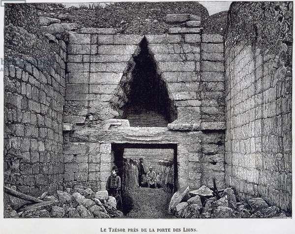 Mycenae, treasure at the Lion Gate, by Heinrich Schliemann, engraving