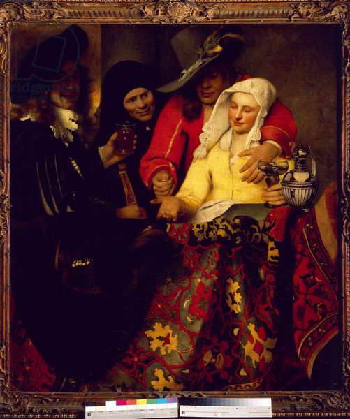 """""""At the matchmaker"""" A woman pimp organizes an interview between a young woman and a client, 1656 (oil on canvas)"""