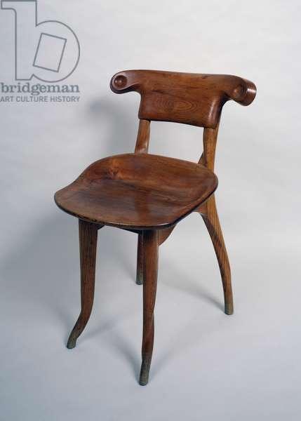 Wooden chair, by Antoni Gaudi (1852-1926), Art nouveau style (modernism). Spain, 20th century.