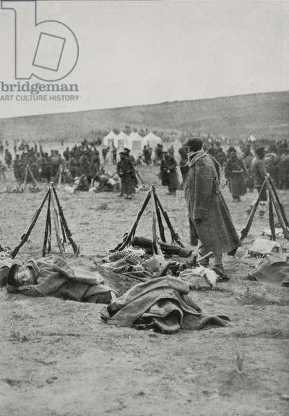 Bulgarian army camp around Adrianople (Edirne) besieged, Turkey, First Balkan War, photograph by Dimitr Karastoyanow, from L'Illustrazione Italiana, Year XL, No 6, February 9, 1913