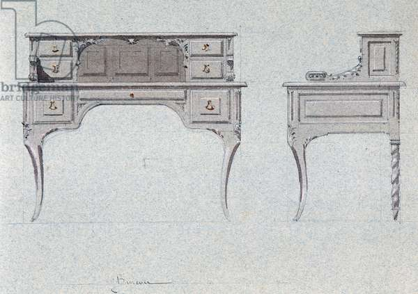 Bureau for the Golden room, Chateau d'Eu, 1875, by Eugene Emmanuel Viollet-Le-Duc (1814-1879), watercolor drawing