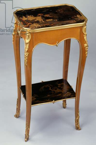 Louis XV Second Empire style (Napoleon III) Chinese lacquer table with shelf, signed by Henri Dasson (1825-1896), France, second half 19th century