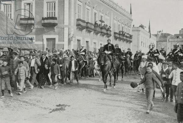 King Alfonso XIII of Spain entering Melilla, Spain, from L'Illustrazione Italiana, Year XXXVIII, No 4, January 22, 1911