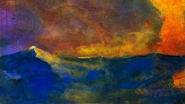 Waves, by Emil Nolde (1867-1956), watercolour. Germany, 20th century.