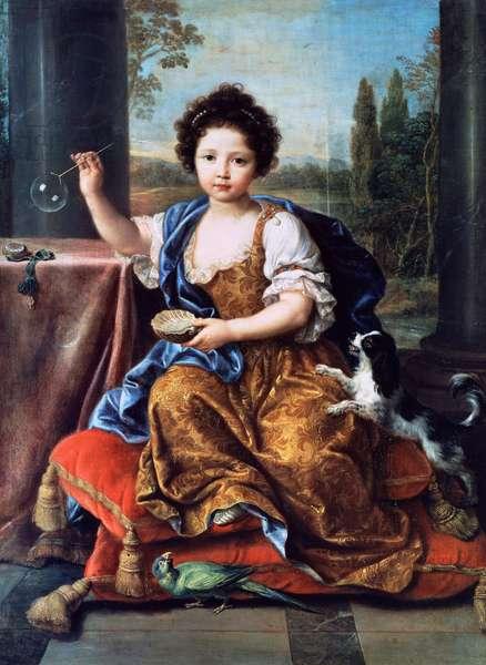 Portrait of Louise Marie Anne de Bourbon or Mademoiselle de Tours (1674-1681), painting by Pierre Mignard (1612-1695), oil on canvas, 132x96 cm