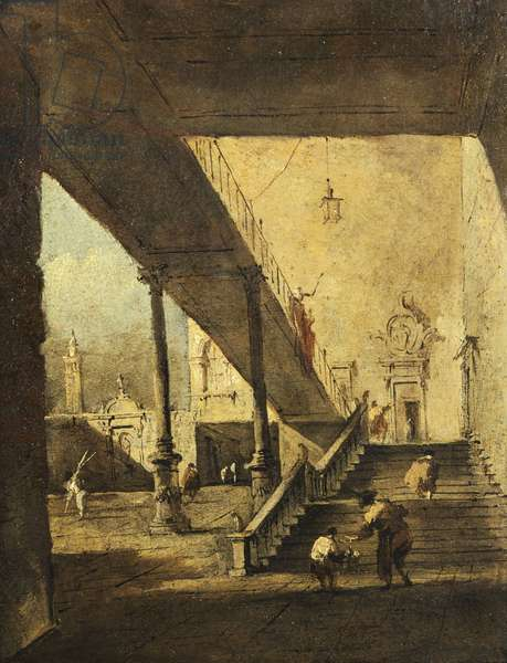 Capriccio depicting porch and stairs in courtyard, by Francesco Guardi (1712-1793), oil on canvas, 22x17 cm