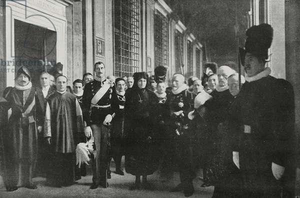 King of Denmark Christian X and Queen Alexandrina in Vatican, from l'Illustrazione Italiana, Year XVLII, No 52, December 26, 1920
