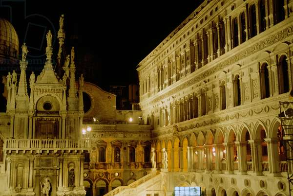 Courtyard of Doge's palace, Night view, Venice, Veneto, Italy