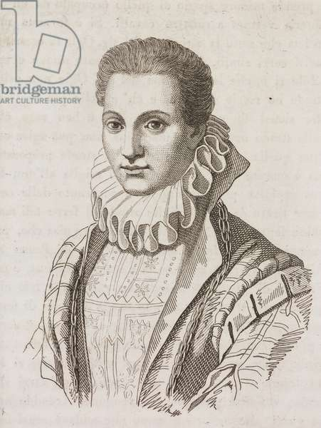 Portrait of Lavinia Fontana (1552-1614), Italian painter, engraving from Giornale Letterario e Di Belle Arti, Saturday, January 31, 1835