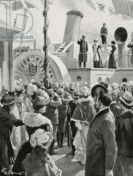 King Haakon VII, Queen Maud and Prince Olav departing for Norway, Copenhagen, Denmark, drawing by Gennaro Amato, from L'Illustrazione Italiana, Year XXXII, No 49, December 3, 1905