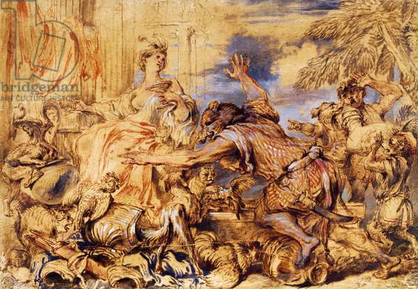 Circe changing companions of Ulysses into beasts